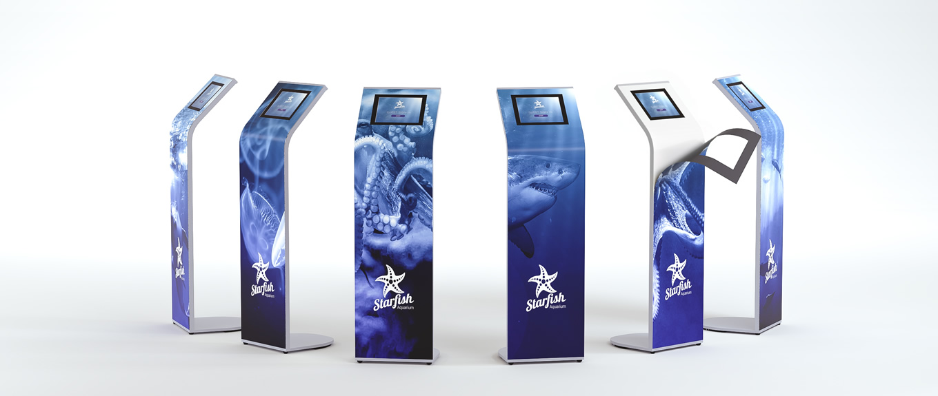 Banner of Armodilo ALUR locking iPad kiosk stand with magnetic graphic panels.