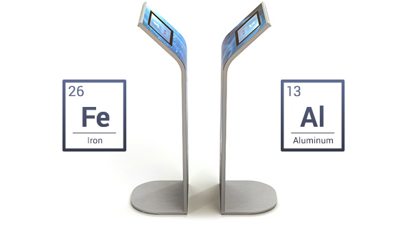 Armodilo ALUR is a sleek, low profile iPad security stand made of aluminum and steel