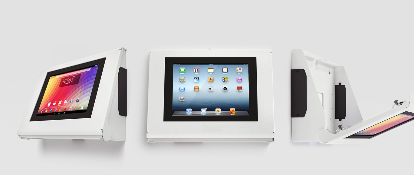 Main banner - Armodilo Keyo Secure Tablet & iPad Kiosk for Wall Mount and Desktop in SkyWhite