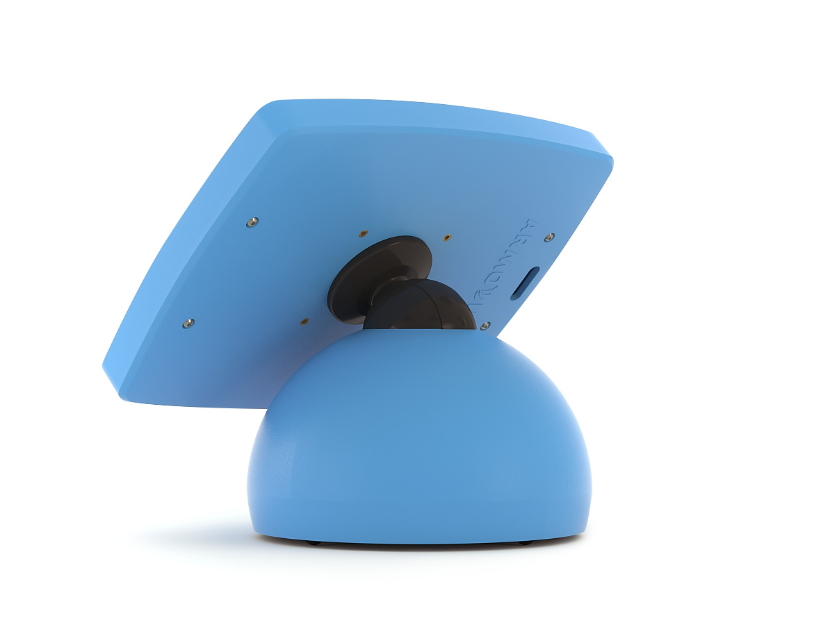 The Armodilo Original Sphere desktop mount iPad enclosure and kiosk in Dynamic Blue.