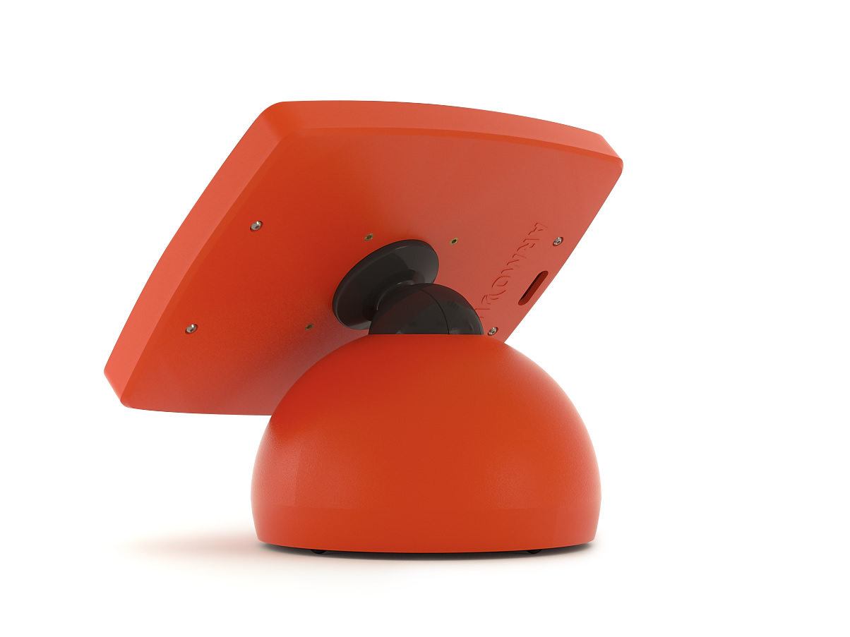 The Armodilo Original Sphere secure locking tablet and iPad enclosure kiosk in Daredevil Red.