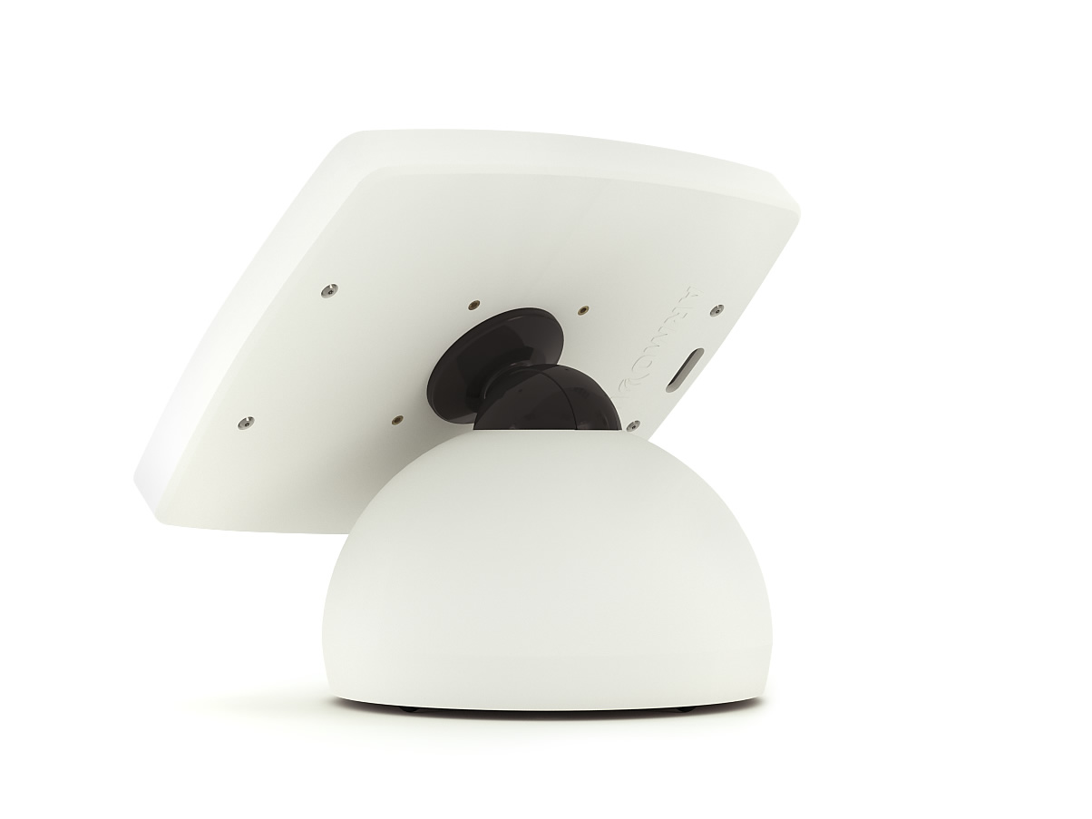 The Armodilo Original Sphere secure locking tablet and iPad kiosk enclosure in Sky White.