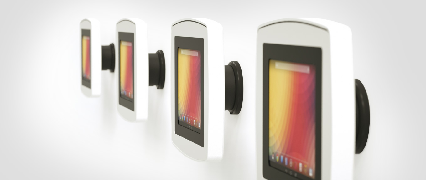 Banner showing the Armodilo Original Wall tablet and iPad enclosure with wall mount.