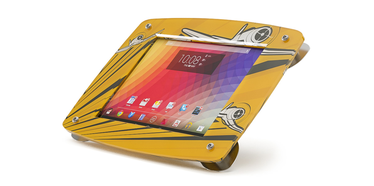 An Armodilo Xero custom branded tablet and iPad display stand with a printed insert with airplanes.
