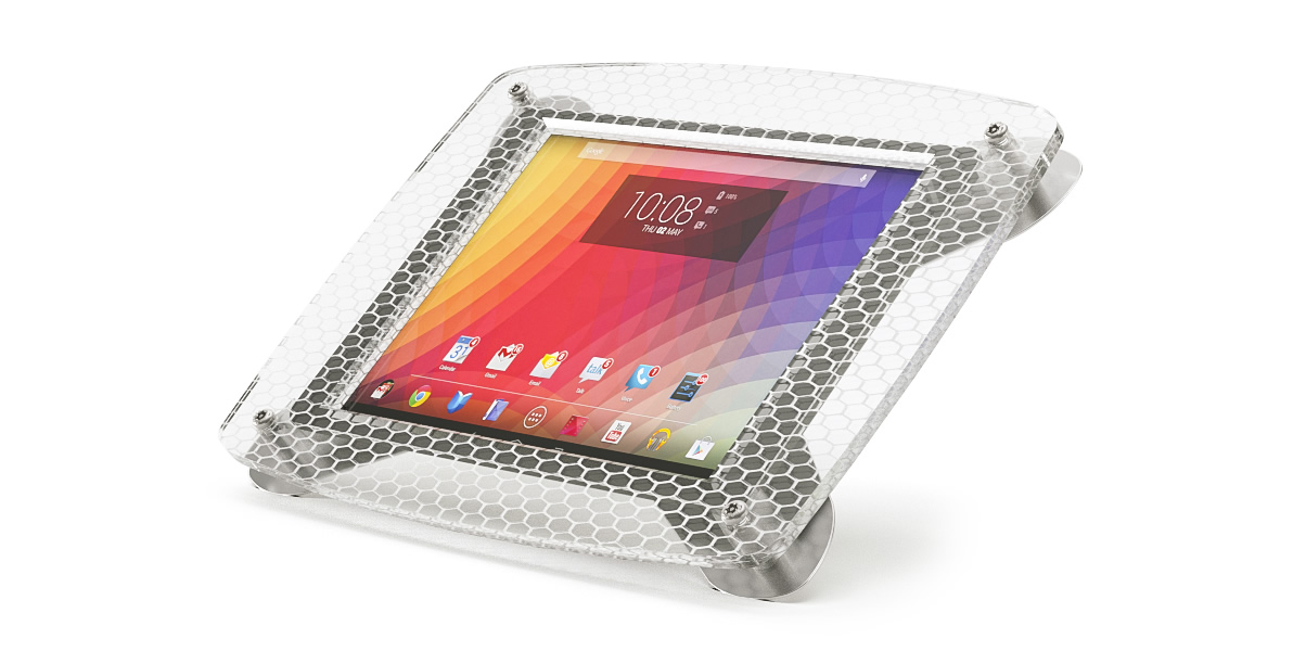 An Armodilo Xero custom branded secure tablet lock stand with honeycomb resin.