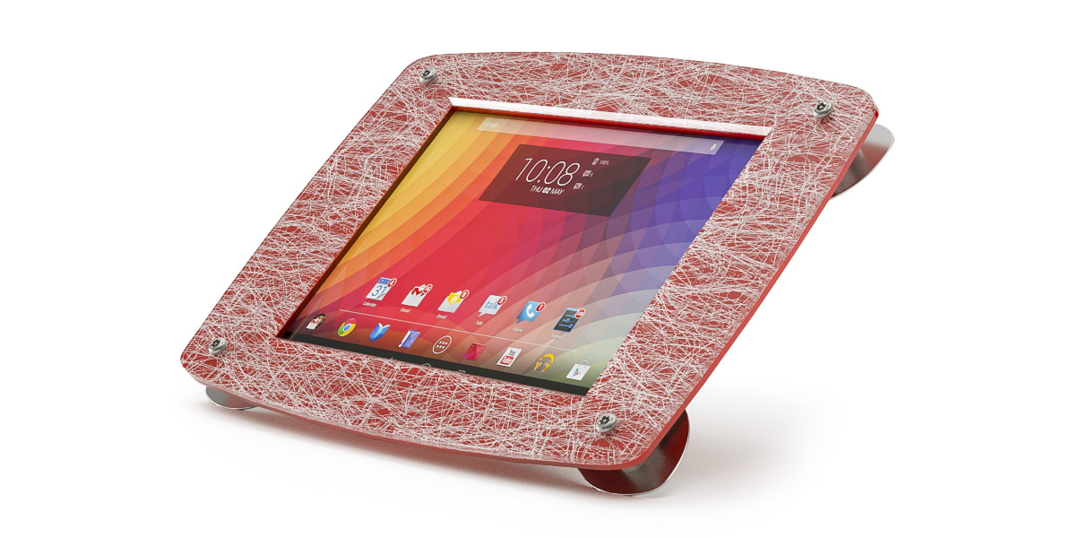 An Armodilo Xero custom branded iPad stand with silverspun resin and a red print.