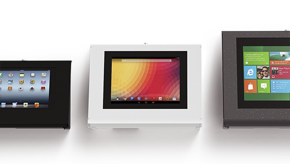 Armodilo Keyo tablet and iPad wall mount enclosures in three sizes to hold all iPad, Android and Microsoft tablets.
