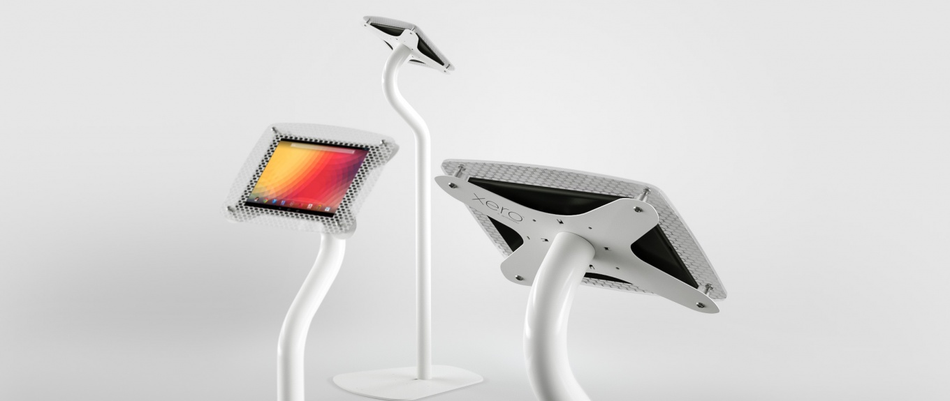 An Armodilo Xero Floor tablet and iPad display stand in Sky White.
