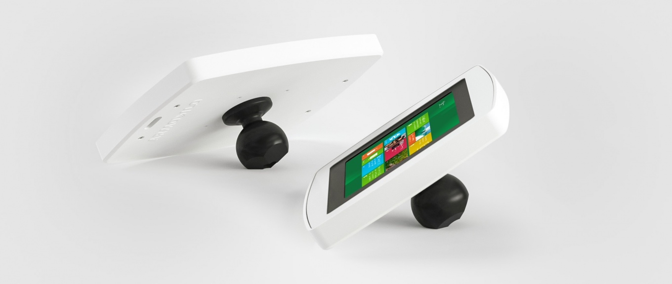 Banner showing front and back views of the Armodilo Original Spot secure tablet and iPad enclosure in Sky White.
