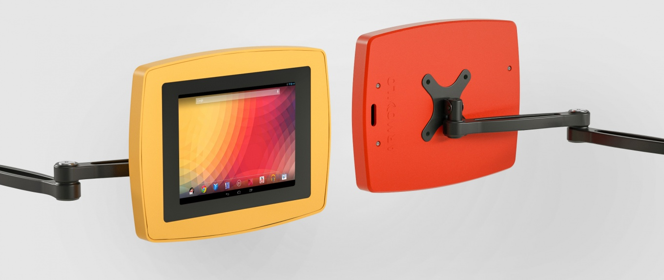 A banner showing the Armodilo VESA secure Tablet and iPad Enclosure in orange and red.