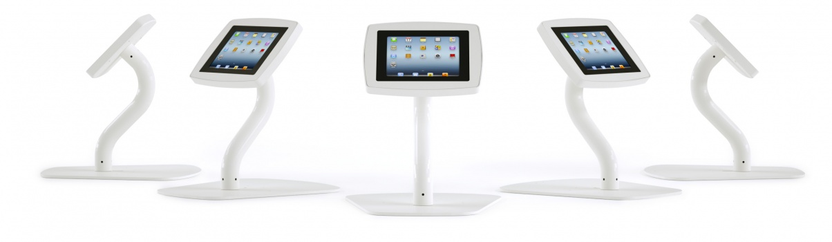 A banner showing full views of the Armodilo Original 3-in-1 secure locking tablet and iPad kiosk enclosure in desktop tablet stand configuration in Sky White.