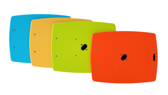 Rear view of the Armodilo Original VESA secure tablet and iPad enclosure in four bright colours.