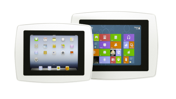 Side-by-side comparison of the small and large Armodilo Original VESA secure iPad and tablet enclosures in Sky White.