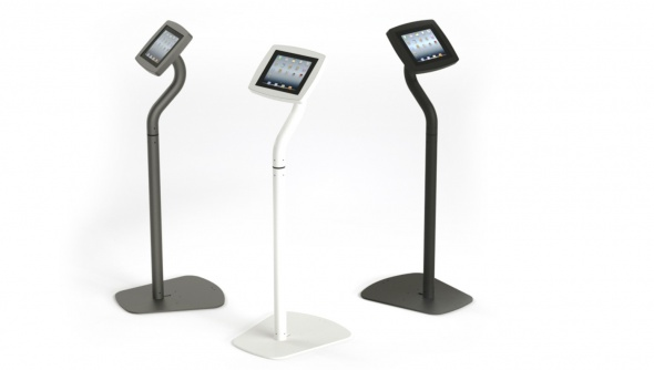 Three Armodilo Original 3-in-1 units in tablet floor stand configuration, in Black, Sky White, and Gun Metal Grey.