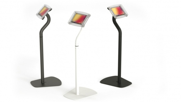Three Armodilo Xero 3-in-1 secure tablet and iPad display stands in standing configuration, with white, black and gray stands.