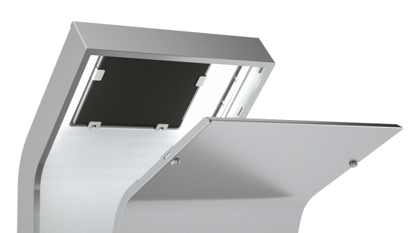Detail of the Armodilo AURA iPad floor stand kiosk with open back.