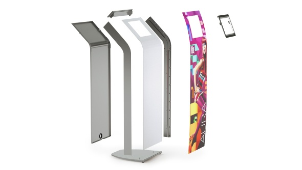 Detail of the Armodilo AURA iPad kiosk stand and all components inside its frame.
