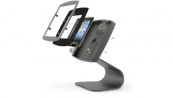 Assembly view of the Armodilo Original Curve secure desktop tablet and iPad enclosure & kiosk in black.