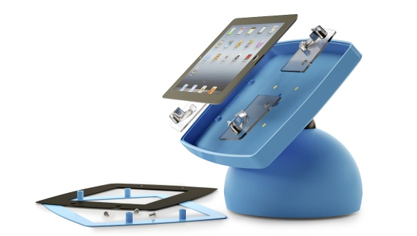 Assembly view of the Armodilo Original Sphere desktop tablet and iPad kiosk enclosure in Dynamic Blue.