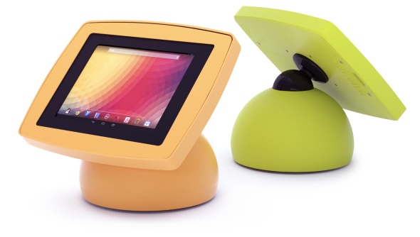 Front and back views of the Armodilo Original Sphere tablet and iPad enclosure kiosk in Yellow and Green.