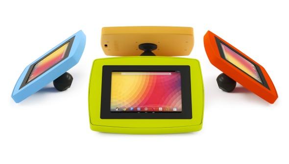 Four Armodilo Original Spot secure iPad and tablet enclosures in four different colours, in a circle.