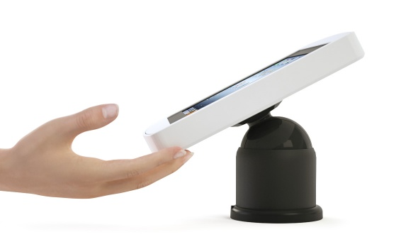 Armodilo Tilt adjustable iPad tablet enclosure in SkyWhite, being moved by a hand.