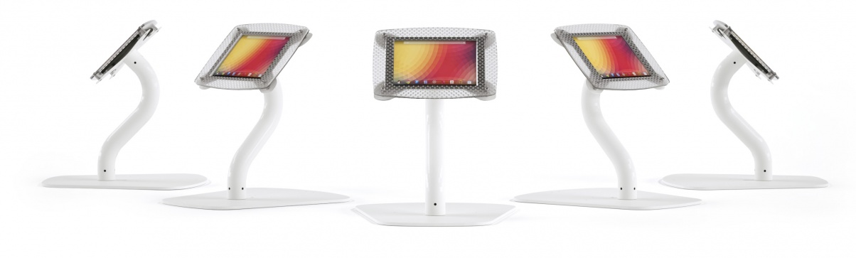 Armodilo XERO 3-in-1 custom branded tablet and iPad display stands in desktop configuration.