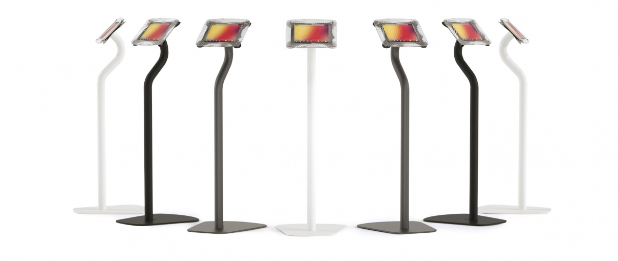 Armodilo Xero Floor tablet and iPad display stands in white, black, and gray.