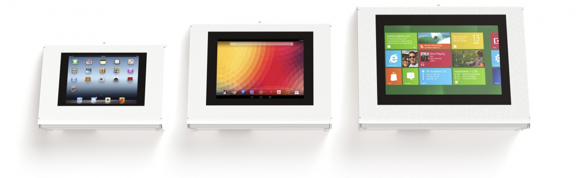 Armodilo Keyo iPad and tablet kiosks – Surface or Wall Mount iPad and tablet enclosures in 3 sizes.