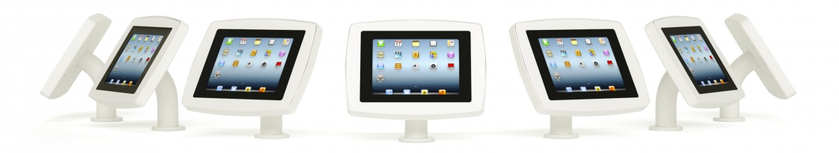 Banner showing the Armodilo Original Surface table mount tablet and iPad enclosure from all angles in Sky White.