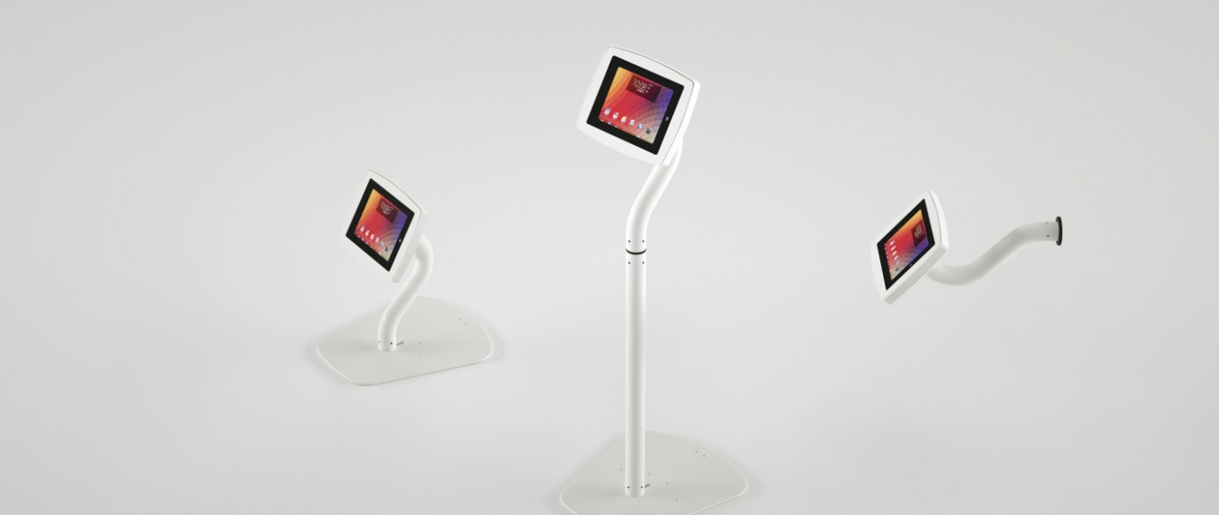 A banner showing the Armodilo Original 3-in-1 tablet and iPad enclosure in Sky White in all 3 configurations.