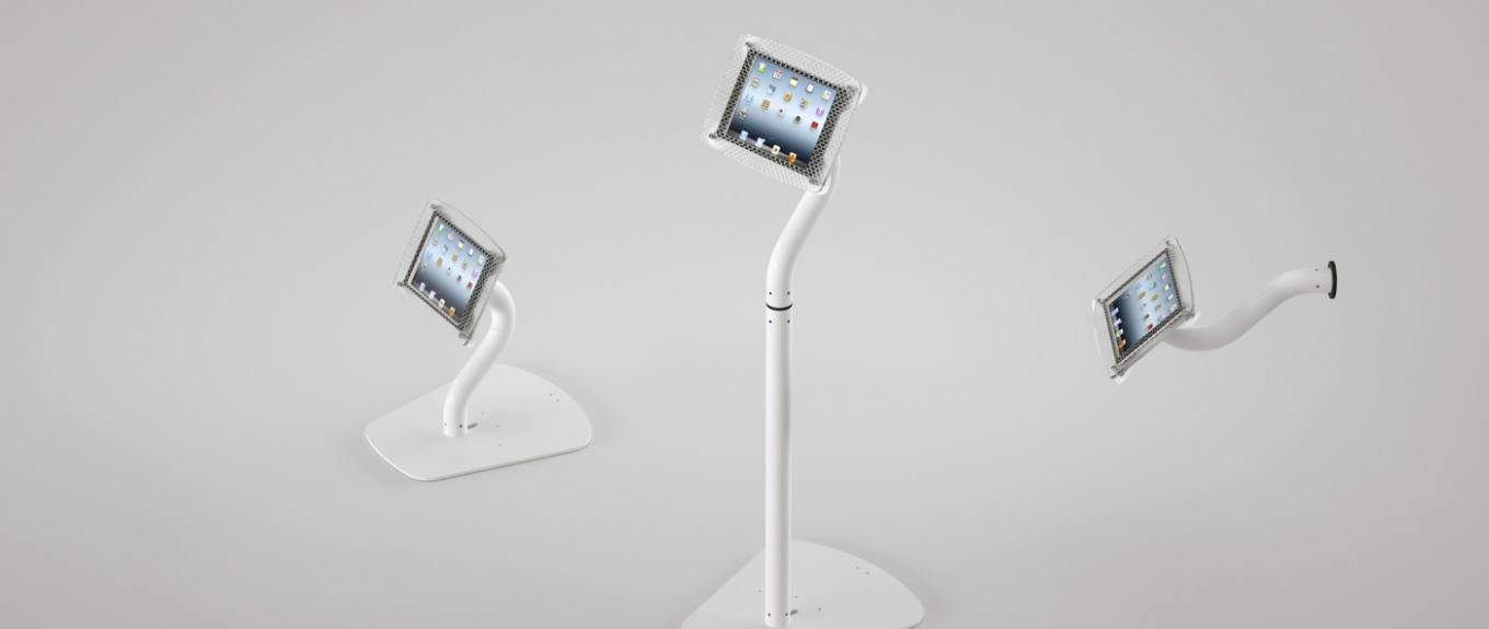 All mount configurations for the Armodilo Xero 3-in-1 Tablet and iPad display stand and kiosk.